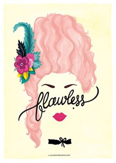 Flawless Marie Antoinette Poster, Calligraphy Print, Minimalist Illustration…