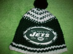 Custom Handmade Knit NFL NEWYORK JETS Baby hat/Beanie in Team Colors by Grrr-lington Baby Dog and more, $29.99 USD