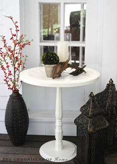 How to make a pedestal accent table from a wooden tray or wall hanging and a few other simple materials.