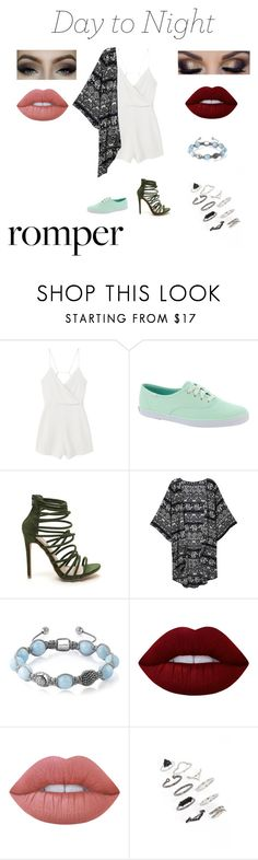 """""""Day to Night"""" by vicitoria1407 ❤ liked on Polyvore featuring MANGO, Keds, Shamballa Jewels, Lime Crime, Topshop, DayToNight and romper"""