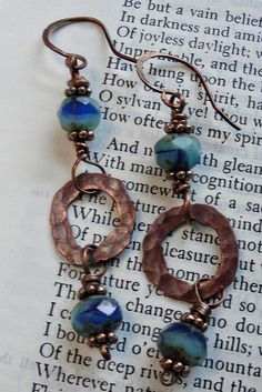 Blue Czech glass and copper earrings