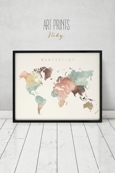 Welt Karte Aquarell print, Welt Karte Poster, Fernweh, Reisekarte, große Karte, Aquarell, Typografie Kunst, Home Decor, ArtPrintsVicky