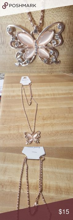 fashion jewely butterfly necklace very pretty rose colored butterfly necklace Jewelry Necklaces