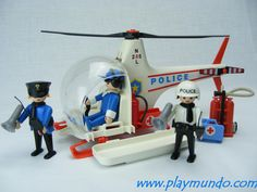 PLAYMOBIL 3144 HELICOPTERO POLICIA (AÑO 1993 - 1996 VERSION 2)