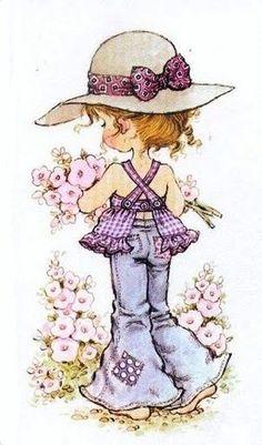 trendy Ideas for baby ilustration girl sarah kay Sarah Key, Holly Hobbie, Vintage Pictures, Cute Pictures, Digi Stamps, Illustrations, Cute Illustration, Vintage Cards, Vintage Flowers