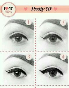 Easy way to apply winged eyeliner. Applying winged eyeliner has always been a task for me. Then i started using this technique, it really wo. hacks for teens girl should know acne eyeliner for hair makeup skincare 1950 Makeup, Vintage Makeup, 1950s Hair And Makeup, Retro Makeup, Perfect Winged Eyeliner, Winged Liner, Eye Liner, Look Retro, Look Vintage