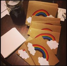 Hand painted rainbow invitations Rainbow Invitations, Birthday Invitations, Rainbow Birthday, Happy Birthday, Girl Scouts, Party Planning, Party Time, Iris, Shower Ideas