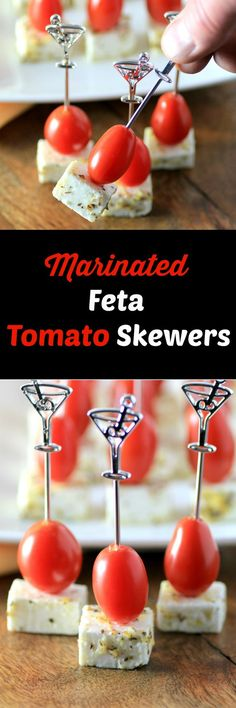 Marinated Feta Tomato Skewers - A simple but flavorful appetizer recipe with just 4 ingredients! - #SundaySupper