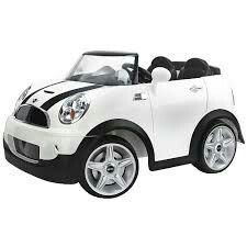 Mini Cooper 12 Volt Ride On - White - Pacific Cycle Cat Bulldozer, Kids Power Wheels, Mini Cooper S, Cooper Car, Racing Stripes, Ride On Toys, Christmas Toys, Kids Playing, Cool Cars