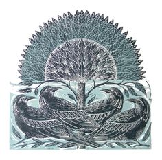 Mangle Prints: Four Crows Lino Print by Amanda Colville