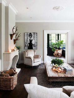 Simple yet beautiful. Rustic chic living room