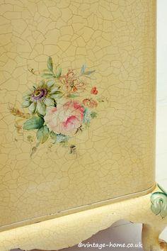 Vintage Home Shop - Beautiful 1940s Hand Painted Floral Bedside Cabinet: www.vintage-home.co.uk