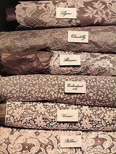 Types of Lace: Lyon, Chantilly, Alencon, Embroidered net, Venise, Ribbon