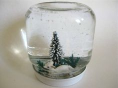 Vintage plastic lamb and bottle brush snow shaker snow globe