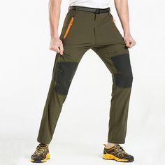 Summer Outdooors Elastic Quick Drying pants Mens Splicing Color Sun-proof Climbing Hiking Pants