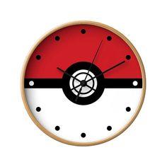 Pokemon Wall Clock, Poke Ball, Video Game, Children Gift, Anime Gamer, TV Series, Pikachu Fan Art, Kids Bedroom, Modern Decor, Wood Clock