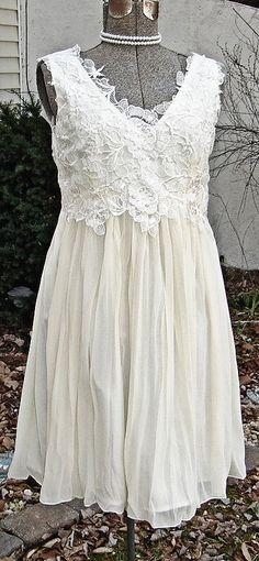 EVITA, Super elegant short ivory, french lace wedding dress
