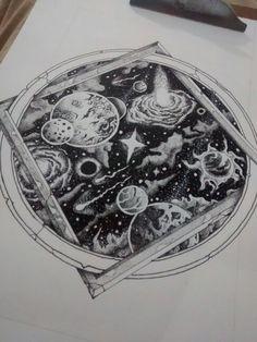 Universo em ponilhismo #dotwork #pontilhismo #pointilhism #universo #universe #planets #cosmos #planetas Ma Tattoo, Tattoo Dotwork, Desenho Tattoo, Tattoo Fonts, Cosmos Tattoo, Nebula Tattoo, Space Drawings, Cool Drawings, Dream Tattoos