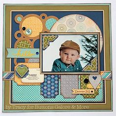 Hello Scrapbook Layout Cute ideas. I like the ticket punched corners on the banners under the photo.