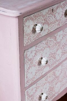 Stencil lace drawers. Definitely going with the pink