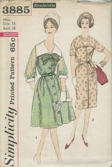 An unused original ca. 1960's Simplicity Pattern 3885.  Dress has V front neckline, set-in sleeves and front button closing.  Skirt front is softly pleated and gathered.  V. 1 has contrasting detachable collar nad cuffs and 3/4 length sleeves gathered into sleeve bands.  Skirt is slightly flared.  Belt and bow are purchased.  V. 2 has short sleeves, slim skirt with back pleat, ribbon trim and ribbon tie belt.