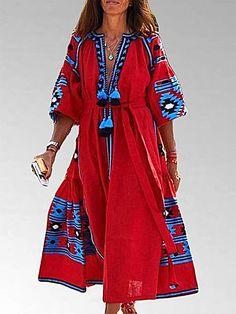 Red Embroidered boho maxi dress style Vita Kin by YasneSvitlo