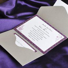 elegant purple and gray pocket wedding invitation cards EWPI027 as low as $1.69