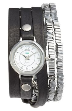 La Mer Collections 'Highline' Leather & Stone Wrap Watch available at #Nordstrom