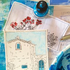 Sketch of small chapel a Koroni Monastery in the south Peloponnese The Beautiful South, Summer Story, Vibrant Colors, Colours, Peeling Paint, My Art Studio, Large Canvas, Medium Art, Fishing Boats