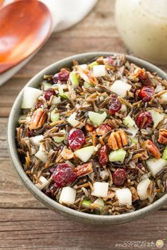 Wild Rice Pear Pecan Salad | Cooking on the Front Burners