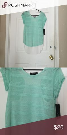 Mint shirt size medium Pointelle stripe mint shirt, silky white racer back . Size medium , brand new with tags. No trades, offers welcome 😊💞🎉 Macy's Tops