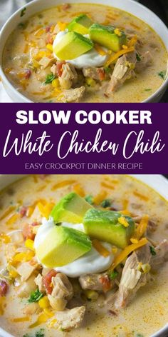 This Slow Cooker White Chicken Chili Recipe is the perfect Crock-Pot Recipe for Fall and Winter Easy to Make and Keto Friendly slowcooker crockpot chili chicken recipe dinner winter fall # Slow Cooker Chili, Slow Cooker White Chicken Chili Recipe, Slow Cooker Huhn, Chicken Cooker, Healthy Crockpot Chicken Recipes, Mexican Chicken Chili Recipe, Good Crock Pot Recipes, Healthy White Chicken Chili, Chili Recipe Crockpot Best