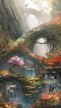 Ideas For Forest Landscape Illustration Fantasy Art Dark Fantasy, Fantasy Forest, Magic Forest, Forest Art, Forest Garden, Garden Trees, Fantasy Places, Fantasy World, Fantasy Artwork