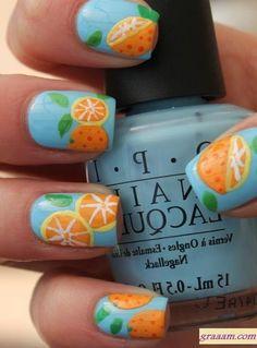 Orange Print for Summer Fruit Nail Designs