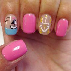 Summer beach anchor sailboat nail art design