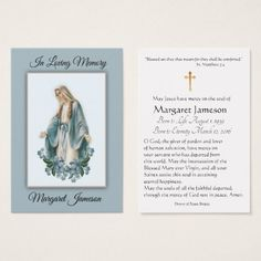 Personalized Catholic Funeral Memorial Holy Card - - flowers floral flower design unique style