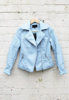 Baby Blue Pastel Leather Look Double Breasted Biker Jacket