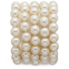 What Goes Around Comes Around Chanel Imitation Pearl Bracelet... ($2,426) ❤ liked on Polyvore featuring jewelry, bracelets, accessories, pearls, fake pearl jewelry and faux pearl jewelry