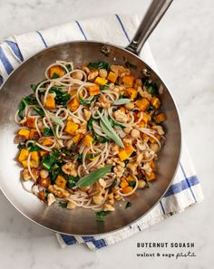 """butternut squash walnut & sage pasta - Use Zucchini noodles """"zoodles"""" instead of pasta."""