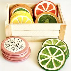 """Cute Fruit coasters. Comes in a set of 4! Choose fruit option when adding to cart. Each coaster is shaped and painted by hand, size and color may vary. Coasters are about 3.25"""" Diy Clay, Clay Crafts, Arts And Crafts, Ceramic Clay, Ceramic Pottery, Ceramics Pottery Mugs, Painted Pottery, Slab Pottery, Ceramics To Paint"""