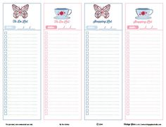 Shabby Chic Shopping and To Do List preview Shabby Chic Shopping and To Do Lists   Free Printable Download