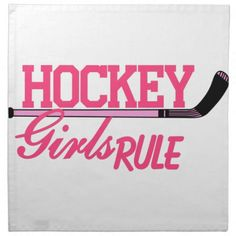 Hockey Girls Rule Cloth Napkin