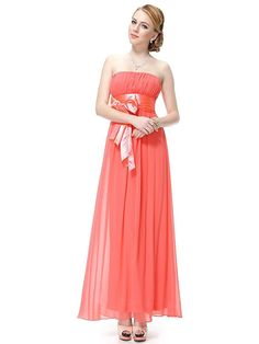 Simpledress Simple Strapless Empire Waist Bow Sash Show Toes Evening Dress Custom Made Size Orange ** Startling review available here  : Bridesmaid Dresses