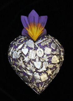 Purple Sacred Heart wood Milagro covered Folk Art Michoacán Mexico Love Token