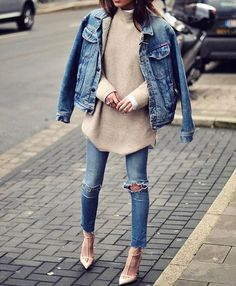 Street style #denim#heels#knittedsweater#outfit