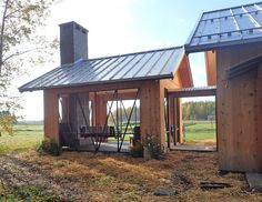 My favorite space is the screenless porch. I'll work on the screens next spring. Green Building, Building A House, Covered Walkway, Small Log Cabin, Porch Entry, Garage Plans, Design Interiors, Tiny House Design, Woodworking Bench