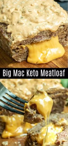 This delicious Big Mac Keto Meatloaf is made with pork rinds and ground beef, st. - This delicious Big Mac Keto Meatloaf is made with pork rinds and ground beef, stuffed with cheese, - Big Mac, Low Carb Keto, Low Carb Recipes, Diet Recipes, Low Carb Hamburger Recipes, Pork Recipes, Stuffed Hamburger Recipes, Hamburger Egg, Cheese Stuffed Meatloaf