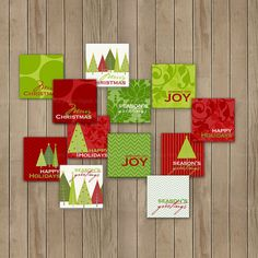 Christmas DIY Printable 2 inch Square Tags  by TracyAnnDigitalArt