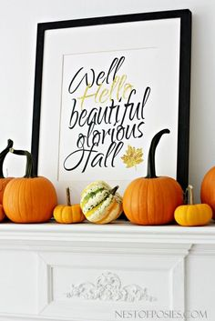 Well, Hello Fall a free printable with black and gold lettering in an 11x14 size. Free Fall printable to welcome and say hello to Fall.