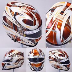 "6 mentions J'aime, 1 commentaires - Indocil Art (@indocil) sur Instagram : ""Candy orange white and chrome for Greg Browns @bellracingusa gtx3. #indocil #indocilart…"" Cool Motorcycle Helmets, Motorcycle Equipment, Racing Helmets, Cool Motorcycles, Football Helmets, Karting, Airbrush Designs, Custom Trikes, Helmet Paint"